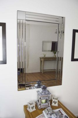 Large Silver Triple Bevelled Edge Venetian Wall Mirror 3Ft11 X 2Ft8 120Cm 80Cm