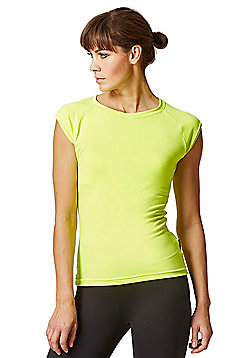 Reflective Running Cap Sleeve T-Shirt with Cut Out Yellow - Yellow