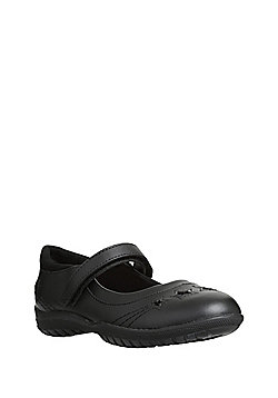 F&F Scuff Resistant Leather Star Appliqu© School Shoes - Black
