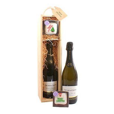 Christmas Cake and Wine Gift Box.