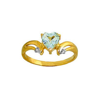 QP Jewellers Diamond & Aquamarine Affection Heart Ring in 14K Gold - Size R 1/2