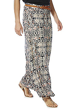 Stella Morgan Paisley Print Maxi Skirt with Plaited Belt - Multi