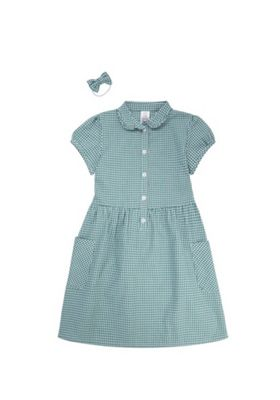 F&F School Ruffle Collar Gingham Dress with Bow Hair Band Green/White 4-5 years