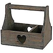 Heart - Solid Wood 2 Section Storage Trug / Display Basket - Brown