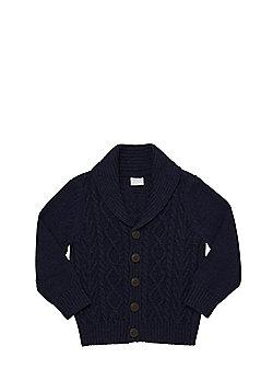 F&F Shawl Collar Cable Knit Cardigan - Navy