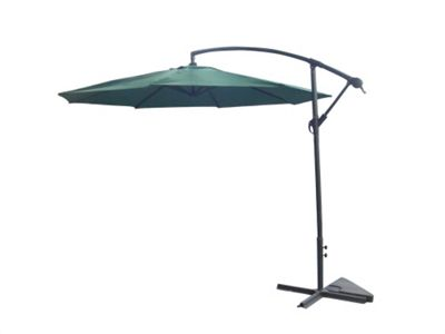 Palm Springs 3M Cantilever Patio Hanging Umbrella Sun Shade Rattan Set Green