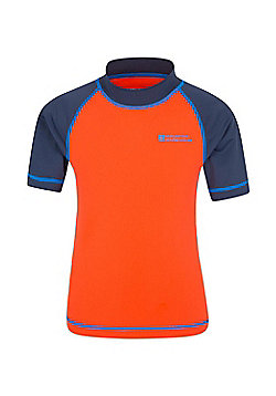Mountain Warehouse Boys Rash Vest SPF50+ Treatment with Flat Seams for Swimming - Orange