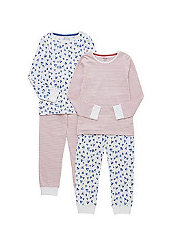 F&F 2 Pack of Heart and Striped Pyjamas - Multi