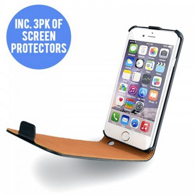 Hard Frame Flip Case + 3 Screen Protectors│Leather Mobile Cover│For iPhone 6│BLK