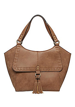 F&F Whipstitch Distressed Tote Bag