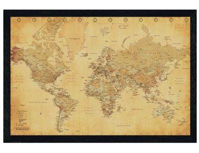 Black Wooden Framed Vintage Style World Map Poster