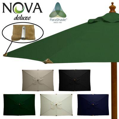 Nova Deluxe 3m x 2m Rectangular Green Wooden Garden Parasol
