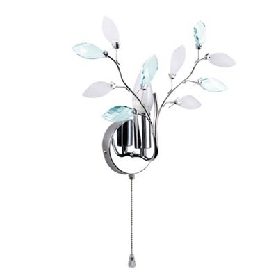 MiniSun Medusa Floral Single Wall Light Fitting with Pull Switch - Chrome & Blue