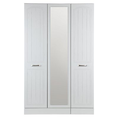 Tenby Triple Wardrobe With Mirror, White