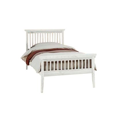 Comfy Living 3ft Single Shaker Style Wooden Bed Frame in White with Basic Budget Mattress