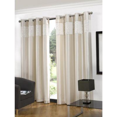Hamilton McBride Glitz Lined Eyelet Cream Curtains - 46x54 Inches (117x137cm)