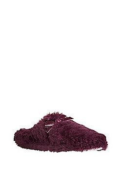 F&F Faux Fur Mule Slippers - Burgundy