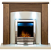 Adam Stanford Fireplace Suite in Walnut with Eclipse Electric Fire in Chrome and Downlights