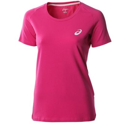 Asics Essentials Short Sleeve Womens Fitness Running Shirt Tee Pink - UK 4-6