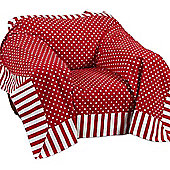 Homescapes Cotton Red Polka Dots and Stripes Sofa Throw