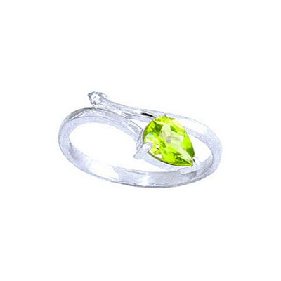 QP Jewellers Diamond & Peridot Top & Tail Ring in 14K White Gold - Size R