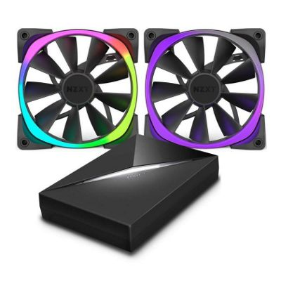 NZXT 140mm Aer RGB Premium Digital LED PWM Fans 140mm With Hue+ Bundle Pack