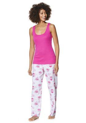 F&F Ribbed Vest Floral Bottom Pyjamas 20-22 Pink & Multi
