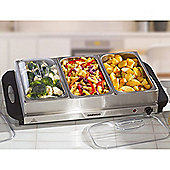 Daewoo Large Three Tray Electric Buffet Server - Stainless Steel
