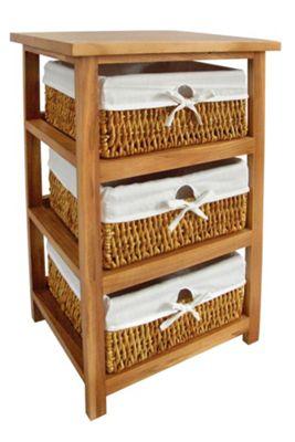 Premier Housewares Storage Unit with Three Maize Baskets - Natural