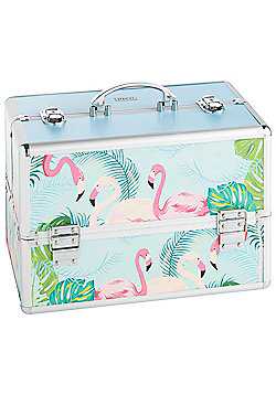 Beautify Large Tropical Flamingo Print Beauty Cosmetics Make Up Case