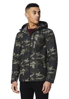 F&F Camo Print Hooded Ripstop Jacket Green 5XL