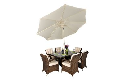 Arizona Rattan Garden Furniture 6 Seat Rectangular Glass Top Table Dining Set with Free Parasol with Base, Dust Cover, Cushions & 1 Yr Warranty