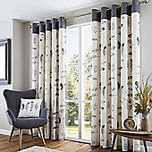 Fusion Idaho Charcoal Eyelet Curtains - 66x90 Inches (168x229cm)