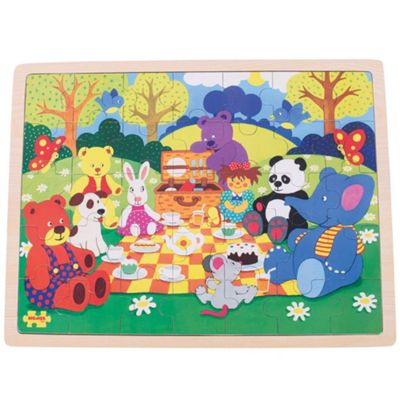 Bigjigs Toys Picnic in the Park Wooden Tray Puzzle for Children - 35 Piece Puzzle