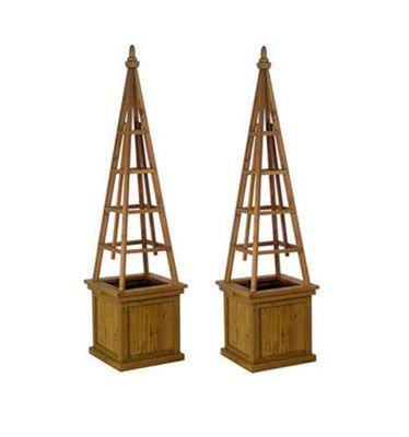 Set of 2 x Wooden Obelisk Garden Planters