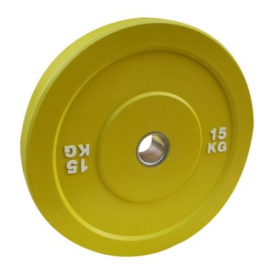 Body Power 15Kg YELLOW Solid Rubber Olympic Disc Weight Plate (x1)