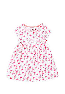F&F Flamingo Print Smock Dress - White & Pink