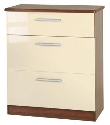 Welcome Furniture Knightsbridge 3 Drawer Deep Chest - Oak - Cream