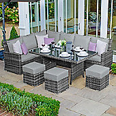 Nova - Cambridge Outdoor Garden Left Arm Rattan Corner Sofa Dining Set - Grey