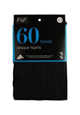 F&F 3 Pack of 60 Denier Opaque Tights L Black