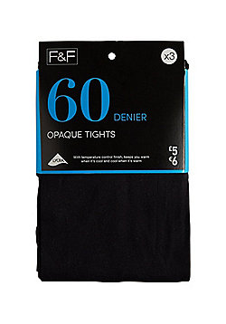 F&F 3 Pack of 60 Denier Opaque Tights - Black