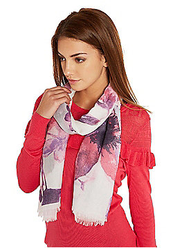 F&F Watercolour Floral Print Scarf - Pink