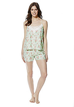 F&F Vintage Floral and Lace Camisole and Shorts Set - Green