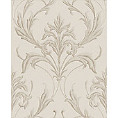 Boutique Oxford Embellished Damask Cream Wallpaper