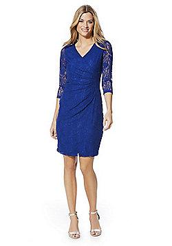 Solo Lace Wrap-Style Pencil Dress - Cobalt