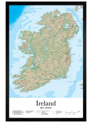 Black Wooden Framed Ireland Map Poster 61x91.5cm