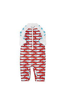 Dudeskin Whale Print UPF 50+ Surf Suit - Red