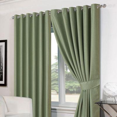 Dreamscene Pair Basket Weave Eyelet Curtains, Green - 66
