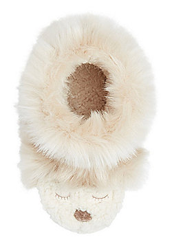F&F Faux Fur Bear Bootie Slippers - Cream