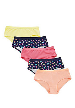 F&F 5 Pack of Heart and Plain Shorts - Blue